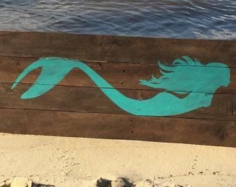 Mermaid Reclaimed Wood Sign