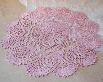 Large crochet doily Pink linen lace doilies Pineapple crochet doilies Crochet table decoration 100