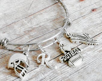 Girls Football, Football Bangle, Football Bracelet, Girls Football Gifts, Football Mom, Football Jewelry, Jewelry for Her, Jewelry under 25