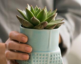 Indoor Planter, Blue Ceramic Planter, Succulent Planter, Pottery Planter, Modern Planter, Planter Pot, Cactus Planter Pot, Geometric Planter