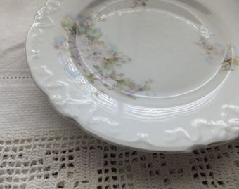 PRETTY FLORAL DESERT Plate Unmarked Embossed 1900s