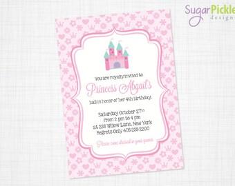Pink Princess Invitation - Princess Party Invitation - Princess Birthday Invitation - Princess Birthday party - Princess Invite - PRINTABLE