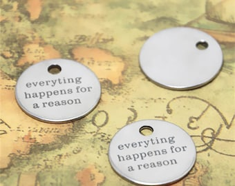 10pcs everything happens for a reason charm silver tone message charm pendant 20mm ASD2591