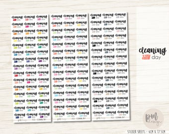 Cleaning Day Stickers - Planner Stickers - FS13