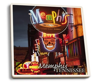 Memphis, TN - Beale Street - LP Photography (Set of 4 Ceramic Coasters)