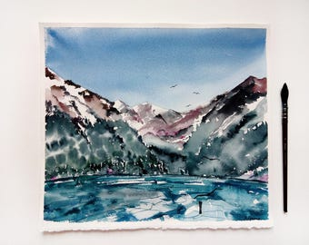 Watercolor Winter Mountains landscape Original painting Snow painting