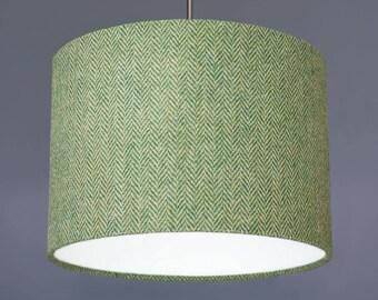 Green Herringbone Harris Tweed Wool Fabric Drum Lampshade Pendant