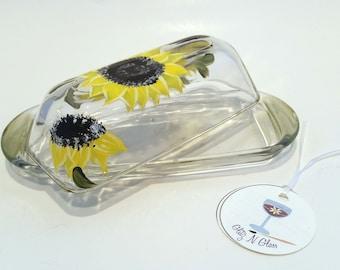 Hand Painted Sunflower Glass Butter Dish