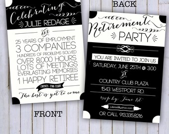 Retirement Party invitation- 5x7- digital file only