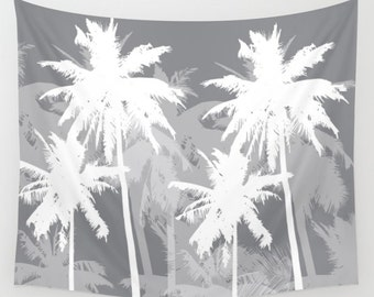 Palm trees Wall Tapestry / Tropical Palm Trees Tapestry / Printed Wall Tapestry / Gray and Cream / Aldari Home