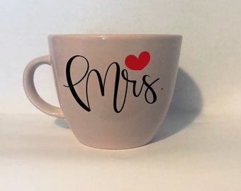 Hand lettered Mr and Mrs stoneware mugs