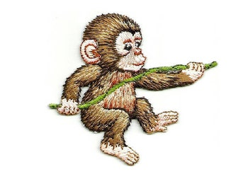 Monkey - Wild Animals - Jungle - Zoo - Embroidered Iron On Patch - R