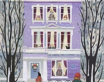Sylvia Plath Christmas Card, London, Snow, Poet, Primrose Hill, Cats, Naive Art, Collage, Amanda White Design, Writers Houses, Holiday Card