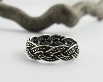 Braided Ring~Silver Celtic Braid Ring~Infinity Knot Band~Woven Knot Ring~Knotted Ring~Braided Knot Wedding Band~Friendship Ring~Gift for Her