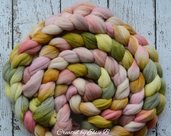 Rambouillet/Gold Sparkle 'First Blush' 4 oz spinning fiber, Created by Elsie B hand dyed wool roving, gold stellina combed top, pink, green