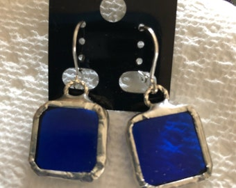 Stained glass earrings sterling silver lever back handcrafted handcut