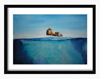 Original watercolor iceberg, watercolor walrus, watercolor nature, watercolor animals, watercolor ice, watercolor Blue Planet, watercolor BBC,