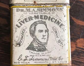 RARE-Dr. M.A. Simmons' Liver Medicine Tin