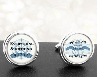 Blue Nautical Personalized Cufflinks Latitude Longitude Everything and Nothing Handmade Cuff Links for Grooms Fiance Wedding Men