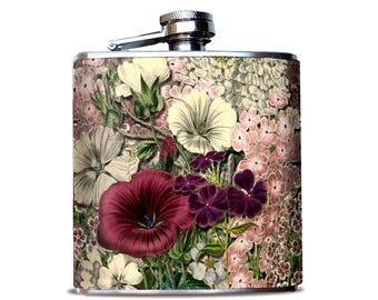 Bridesmaid Proposal, Bridesmaid Bouquet Flask, Pink Flower Bouquet, Pink flask, Retro Flower Print, Wedding flask, Gift for Best Friend