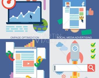 Web Icons Set - Illustration. icon, computer, flat design, social media, website, internet, search, engine, optimization, seo, analysis, ad