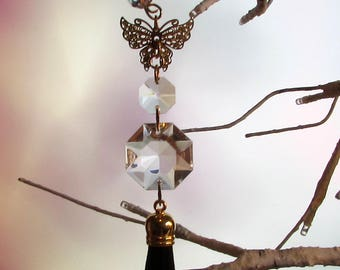 Crystal Prism Suncatcher, Gold Filigree Butterfly, Black Tassel, Mother's Day Gift, 1S-64