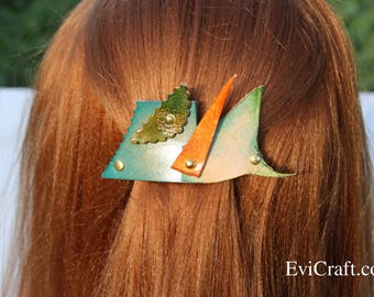 Handmade Leather French hair barrette, Leather Hair clip, women Hair Accessory, flowers green leather hair accessory, asymmetry