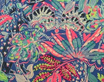 "multi fantasy garden poplin cotton fabric square 18""x18"" ~ lilly summer 2018 ~  lilly pulitzer"