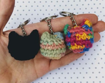 Crochet Cat Head Keychain