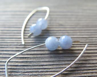 blue aquamarine earrings in ecofriendly sterling silver wire. March birthstone. modern aquamarine jewelry.