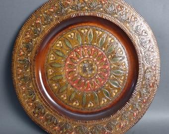 Vintage Hand Carved Wooden Polish Folk Art Plate
