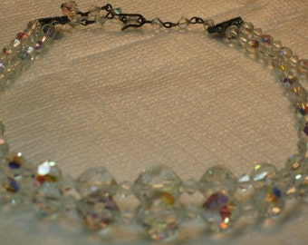 Vintage Crystal Aurora Borealis Necklace Double-Strand 1950's