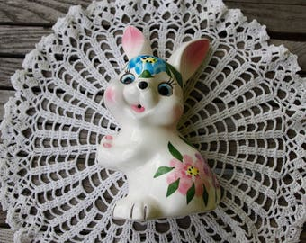 Rabbit faience - Vintage string dispenser