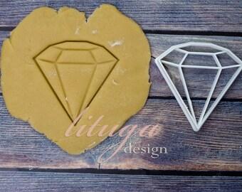 Diamond cookie cutter - engagement cookie cutter, wedding cookie cutter