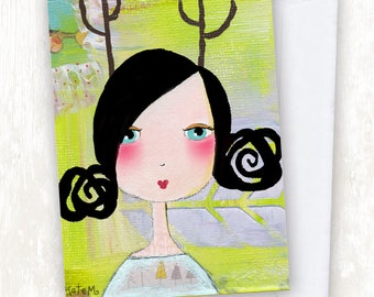 Painted Deer Girl GREETING CARD