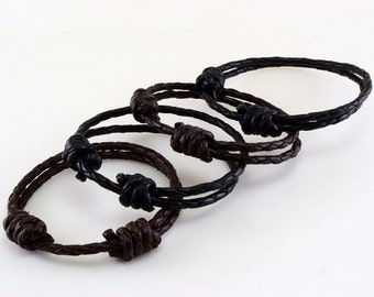 Slip knots and beef braided leather bracelet