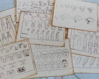 Set of 12 Vintage Drawing Cards Journaling Cards