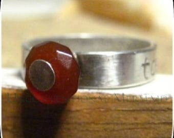 "Sterling Silver ""toes in the sand"" Faceted Carnelian Ring Size 8"