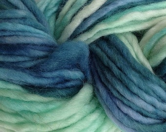 Bulky / Chunky Weight Hand Painted Wool Yarn Pencil Roving in Beach Glass 60 yards Hand Dyed Mint Green Blue Teal