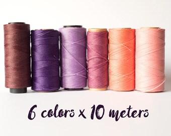 Linhasita macrame thread, linhasita macrame cord, polyester macrame thread, 6 color pink set, pink 60 meters macrame thread macrame cord