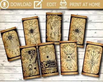 ANTIQUE 78 Tarot, tarot cards, oracle reading,advice,arcane,antique tarot,printable tarot, tarot card deck,downloadable tarot,digital tarot