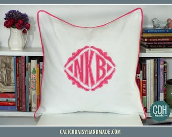 The Veronique Applique Framed Monogrammed Pillow Cover - 20 x 20 square