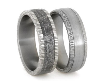 Stainless Steel Ring Set with Damascus Shoulders, Meteorite and Steel, His and Hers Wedding Rings