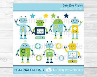 Cute Robot Clipart / Baby Bot Clipart / Robot Baby Shower / Baby Shower Clipart / Birthday Clipart / PERSONAL USE Instant Download A426