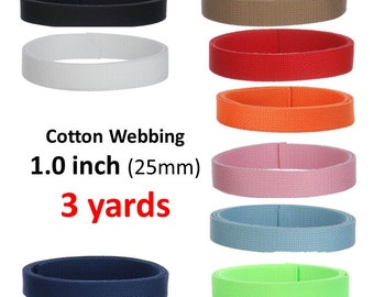3 yards Cotton Webbing  1 inch You Pick Colors Key Fobs Belts Purse Bag Straps Leash