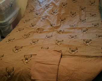 Bone Collector Buck Print with Brown Back Flannel quilt