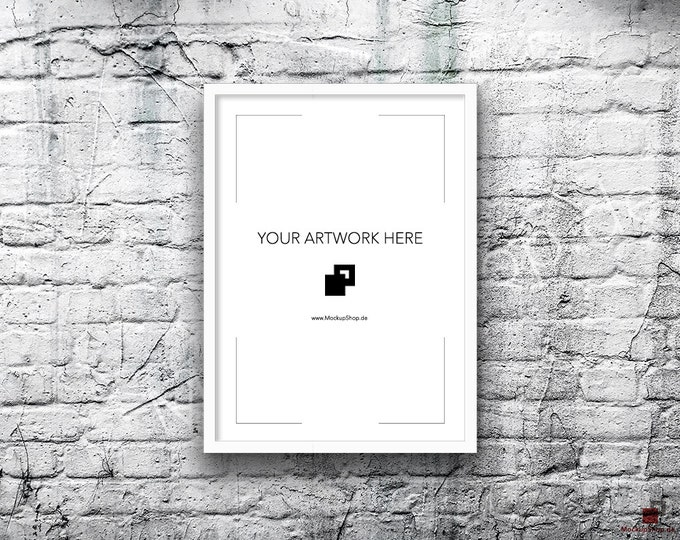 5x7 10x14 Vertical Digital WHITE FRAME MOCKUP, Styled Photography Poster Mockup, old White Brick Background, Framed Art, Instant Download