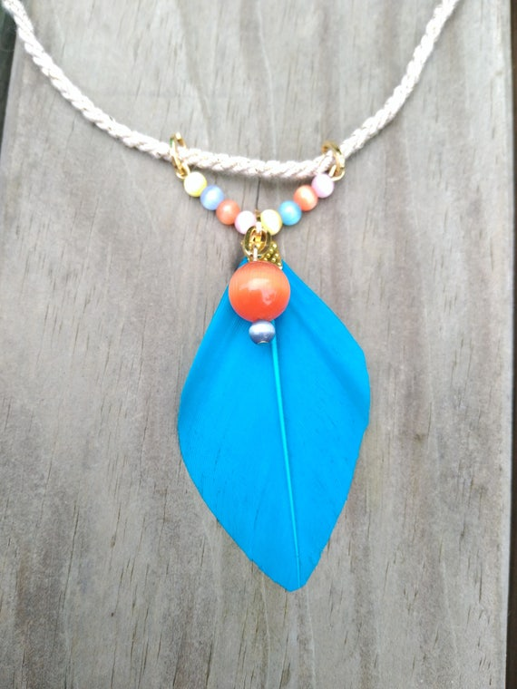 Dyed Feather Necklace and natural cord