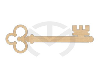 Key Antique Style - 01613- Unfinished Wood Laser Cutout, Wall Accent, Gallery Wall, Vintage