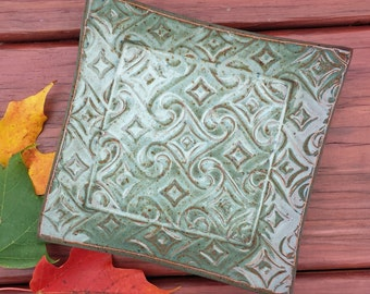 Ceramic Small Plate Square Dish Textured Stoneware Blue and Green Pottery Soap Candy Serving Trinket Tray Catchall OOAK Gift Mother's Day